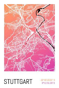 Stuttgart – City Map Design Stadtplan Karte (Farbverlauf) von