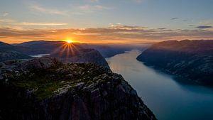 Sunrise at the Preikestolen, Lysefjorden, Norway.