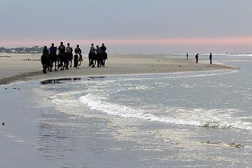 Terschelling, chevaux sur la plage le soir - 1 sur Mooi op Terschelling