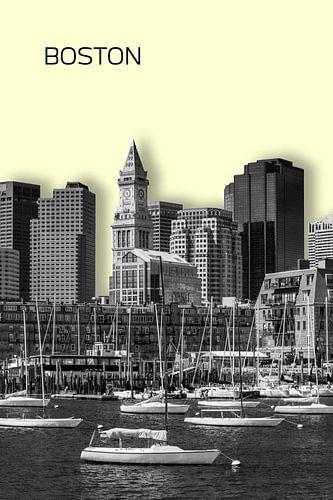 BOSTON Skyline | Graphic Art | yellow
