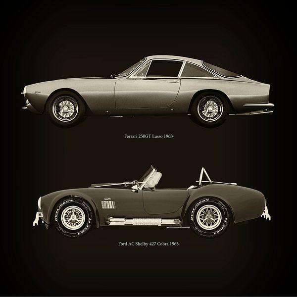 Ferrari 250GT Lusso 1963 en Ford AC Shelby 427 Cobra 1965 van Jan Keteleer