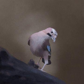 Vlaamse gaai aquarel van Femmie Van der knokke