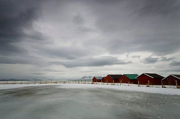 Strandhuisjes op de Lofoten  van Eddie Smit