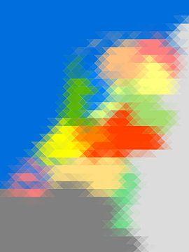 Driehoekskaart van Nederland - horizontaal van Frans Blok