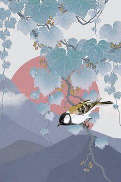 Grande mésange sur une branche de paulownia