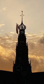 St. Bavo bij zonsondergang (2020) van Eric Oudendijk