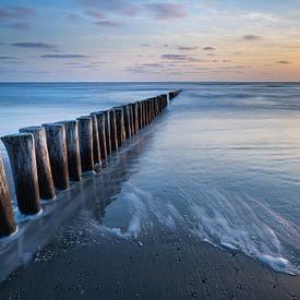 Coucher de soleil sur la plage d'Ameland sur Ron Buist