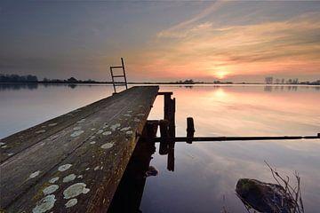 Échafaudage au coucher du soleil sur John Leeninga