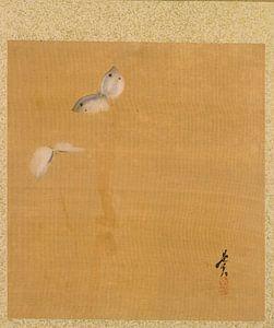 Shibata Zeshin - Blatt aus dem Album mit saisonalen Themen, Ahornblättern und Federn