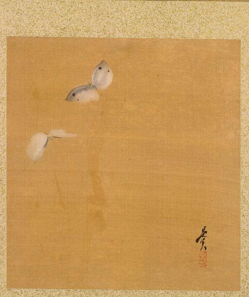 Shibata Zeshin - Blatt aus dem Album mit saisonalen Themen, Ahornblättern und Federn von 1000 Schilderijen