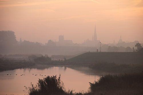 Middeleeuwse stad in ochtendlicht.