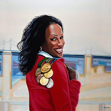 Jackie Joyner Kersee painting sur Paul Meijering