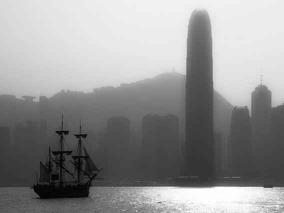 Hong Kong Skyline zwart wit