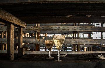 Glas wijn van Kimberley Rensink