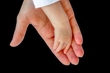 Hand van moeder draagt de hand van haar baby van Ben Schonewille