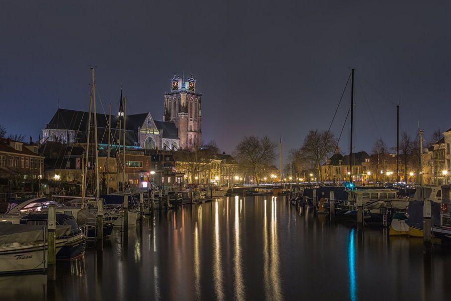 Historical Dordrecht at Night - Nieuwe Haven and Grote Kerk