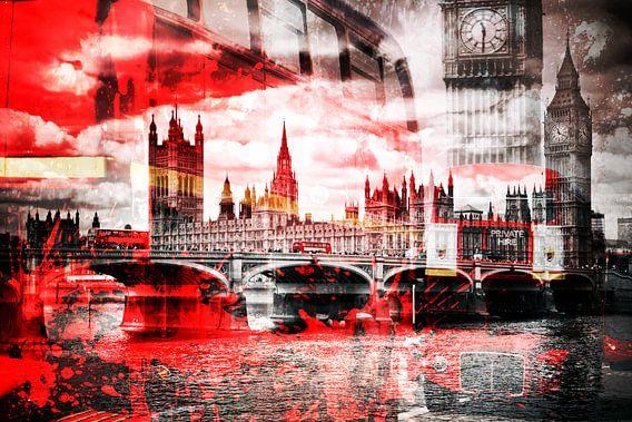City-Art LONDON Red Bus Composing sur Melanie Viola