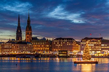 Jungefernstieg, Hamburger Rathaus und Nikolaikirchturm mit Weihnachtsbeleuchtung, bei Abenddämmerung von Torsten Krüger