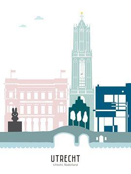 Skyline-Illustration Stadt Utrecht in Farbe von Mevrouw Emmer