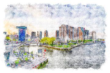 Uitzicht op Rotterdam vanaf de Erasmusbrug (aquarel)
