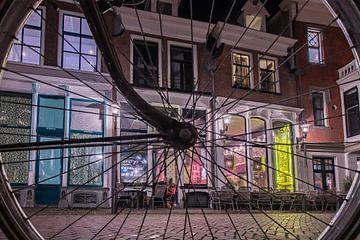 Deventer, Bicyclette, Tir du soir, Longue exposition. sur Frank Slaghuis