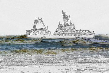 Scheepswrak voor de kust, foto/schets van