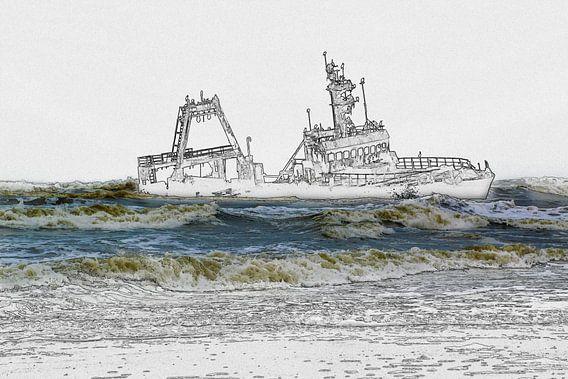 Scheepswrak voor de kust, foto/schets
