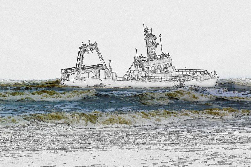 Scheepswrak voor de kust, foto/schets van Rietje Bulthuis