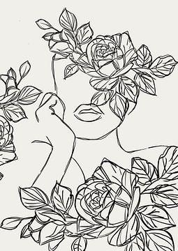 Het bloemen meisje line art van Romee Heuitink