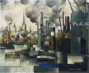 PIERRE HODÉ, Im Hafen von Rouen, 1925