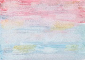 Aquarel in roze, rood, blauw en oker met papierprint van Heike Rau