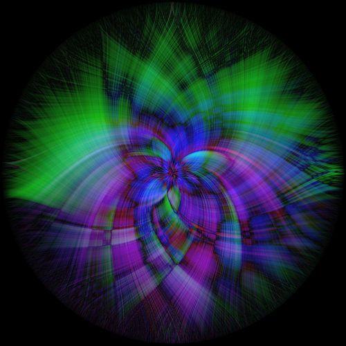 Abstract figuur met paars en groen