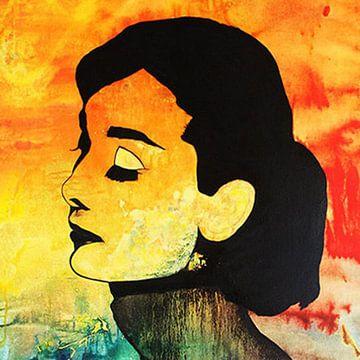 "Audrey HEPBURN ""Sun"" van Kathleen Artist van Kathleen Artist Fine Art"