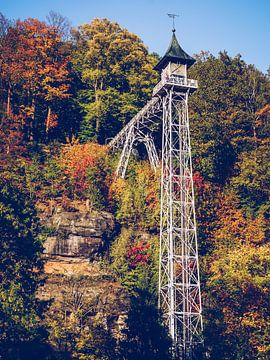 Bad Schandau - Historische lift (Saksisch Zwitserland) van Alexander Voss