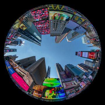 Circular fisheye van Times Square in New York van Herman van Heuvelen