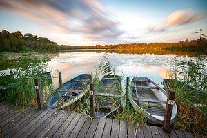 Bateaux et coucher de soleil sur Mark Bolijn