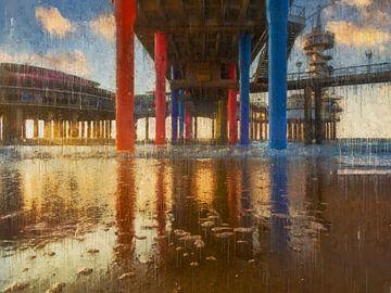 Sous la jetée peinte de Scheveningen