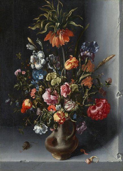 Blumenstillleben mit Kronen-Kaiserfalter in einer Steinnische, Jacob Vosmaer von Meesterlijcke Meesters