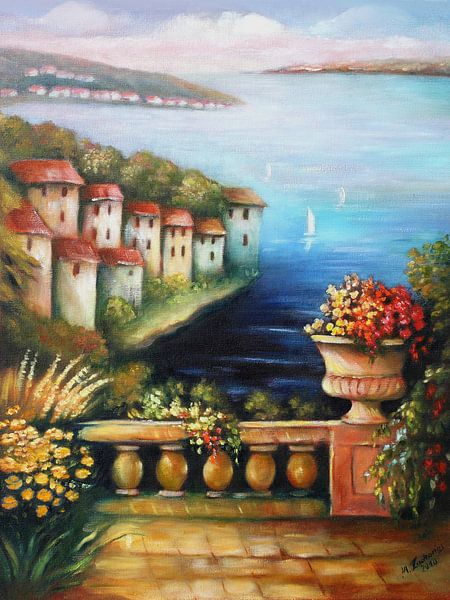 Mittelmeer 1P Bild auf Leinwand Wandbild Edel Poster Kunstdruck