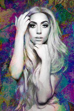 Portrait moderne abstrait de Lady Gaga nue en différentes couleurs sur Art By Dominic