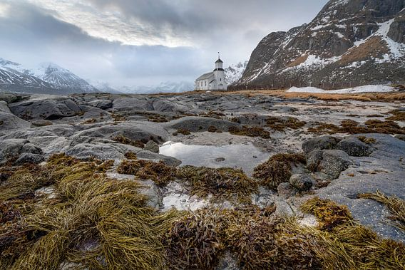 White church in Gimsoysand Lofoten Norway