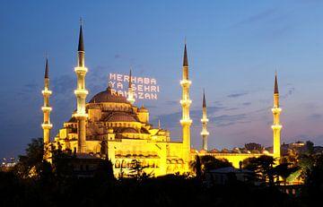 Blauwe Moskee na zonsondergang van Dianne van der Velden