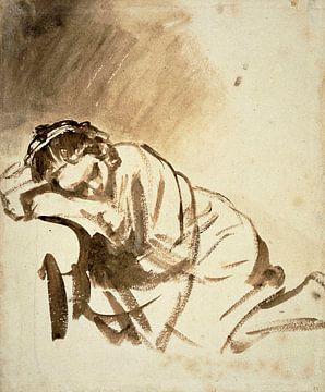 Junge Frau schläft, eine Zeichnung 1654/1654