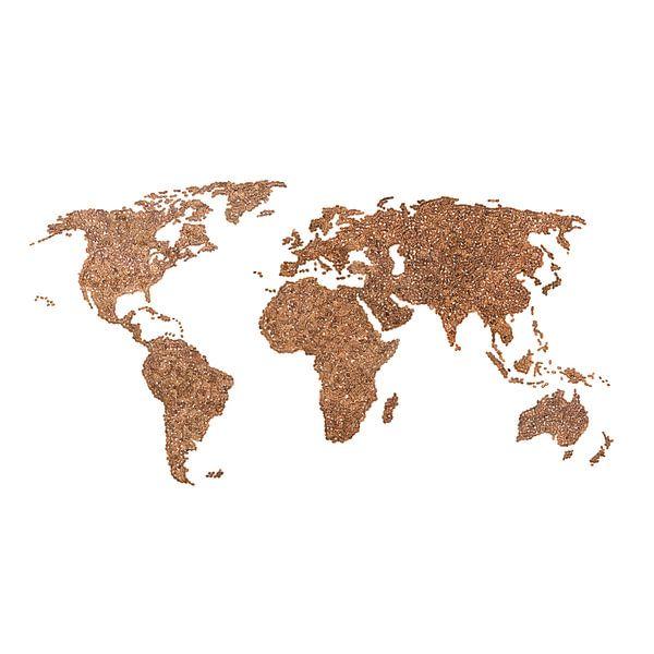 Wereldkaart van echte Koffiebonen | Wandcirkel van Wereldkaarten.Shop