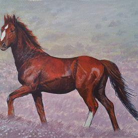 Bruin Paard in landschap van Harm Plat