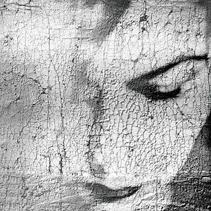 Craquelé portret in zwart-wit van Marijke de Leeuw - Gabriëlse