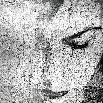 Portrait de Craquele en noir et blanc sur Marijke de Leeuw - Gabriëlse