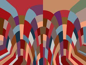 Mozaïek in verschillende kleuren rood van