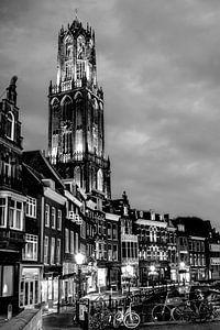 Utrecht Domtoren vismarkt. zwart/wit