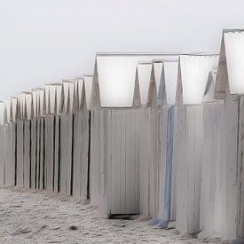 strandhuisjes pastel van Yvonne Blokland